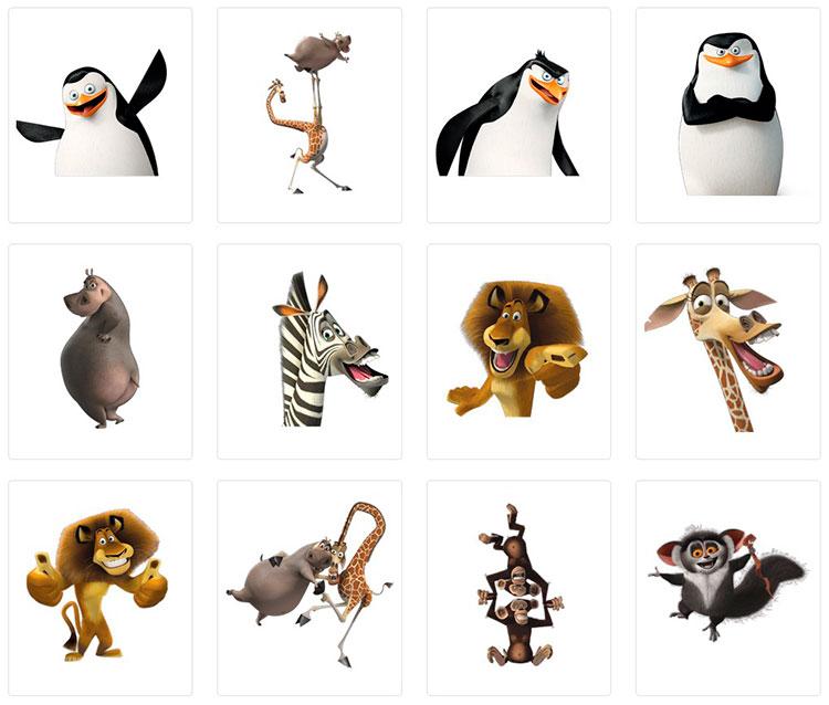 Набор стикеров «Мадагаскар» для Телеграмм