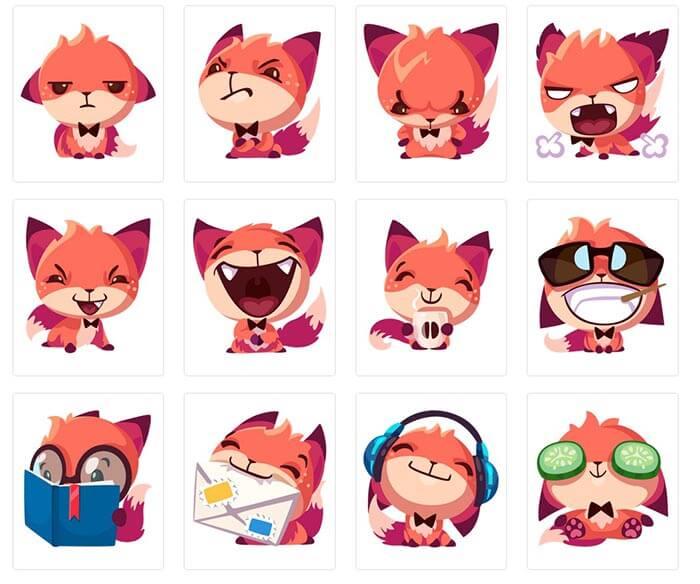 Стикеры для telegram Foxy
