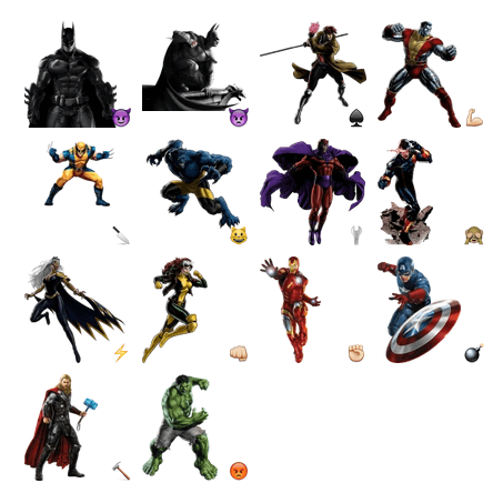 Стикеры для telegram Super heroes stickers